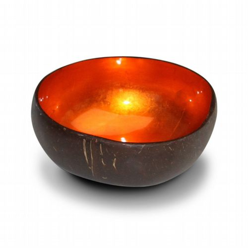 Coconut Bowl - Metallic Leaf - Orange